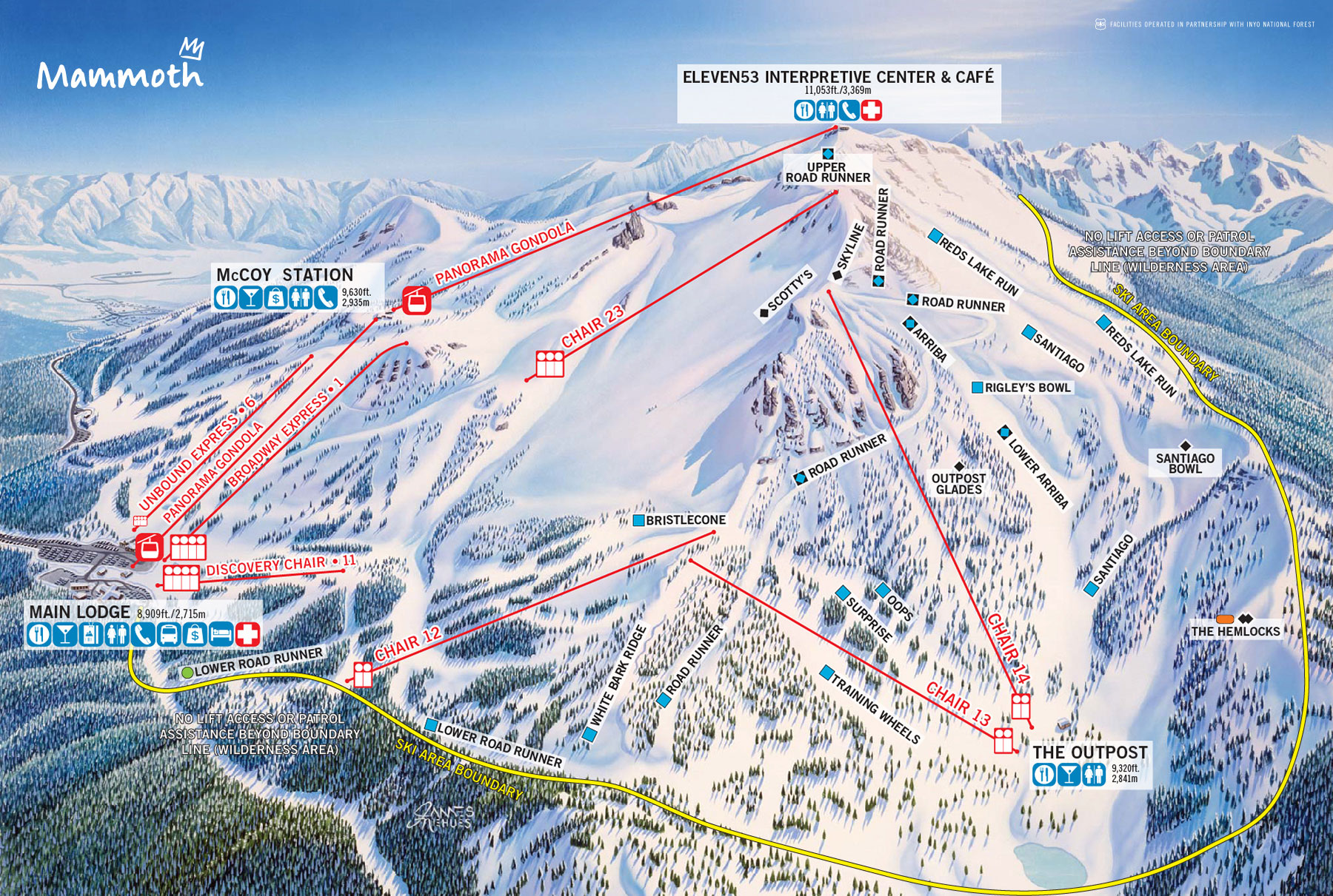 Ski map of Mammoth Mountain, California