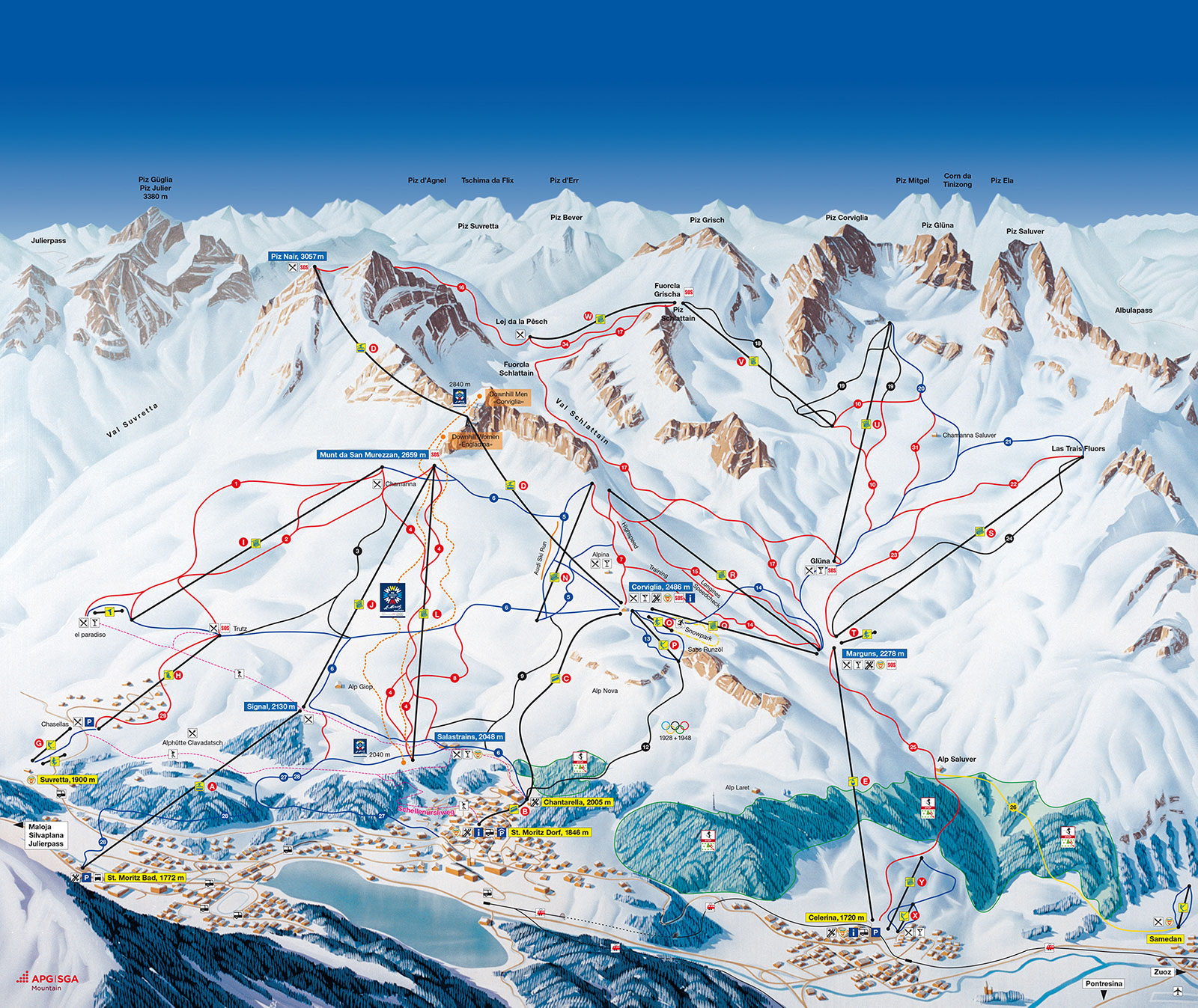 St. Moritz ski map